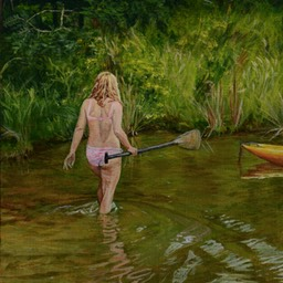 girl with a paddle